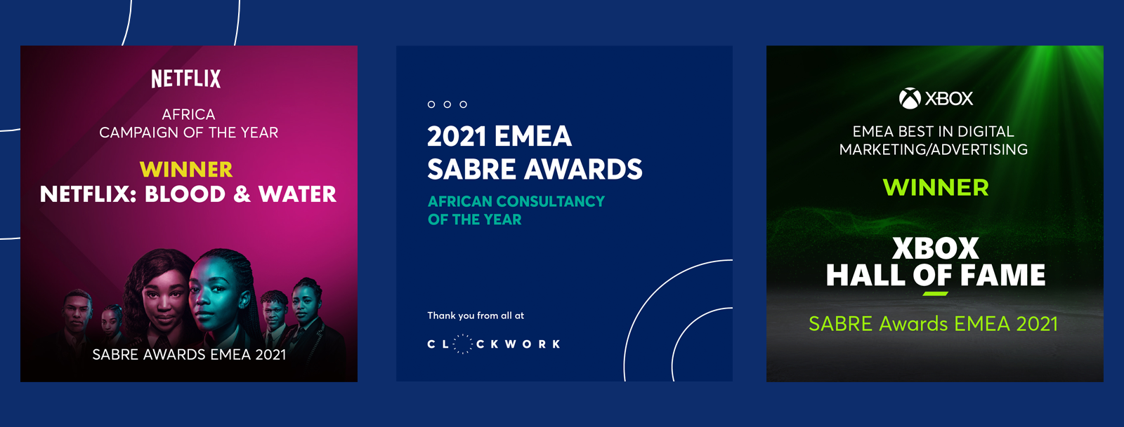 CLOCKWORK NAMED 'AFRICAN CONSULTANCY OF THE YEAR' AT THE SABRE AWARDS EMEA 2021